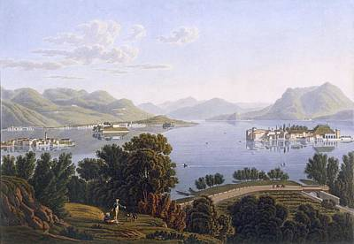 View Of Lake Maggiore And The Borromean Art Print by Swiss School