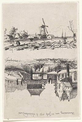 Row Boat Drawing - View Of Leidschendam, The Netherlands, Jan Weissenbruch by Jan Weissenbruch And Joseph Hartogensis