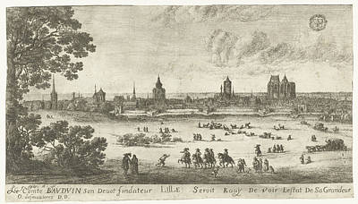 Fleur De Lis Drawing - View Of Lille, France, Gilles Neyts by Gilles Neyts
