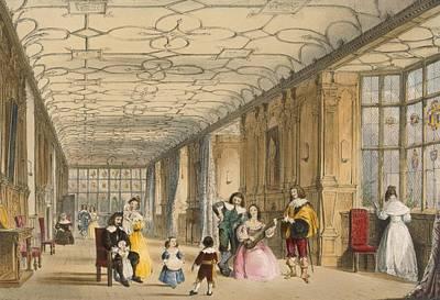 Playing Musical Instruments Drawing - View Of Long Hall At Haddon by Joseph Nash