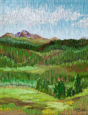 Painting - View Of Longs Peak From Hollowell Park In Rocky Mtn Natl Park by Margaret Bobb
