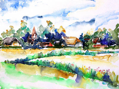View Of Ludorf Over The Meadows  Art Print by Barbara Pommerenke