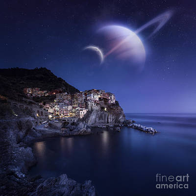 The Sea Of Tranquility Photograph - View Of Manarola On A Starry Night by Evgeny Kuklev