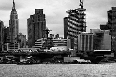 view of manhattan skyline USS Intrepid Aircraft Carrier new york city Art Print by Joe Fox