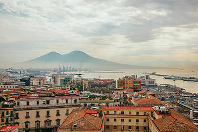 View Of Mount Vesuvius Over Naples Art Print by Kevin C Moore