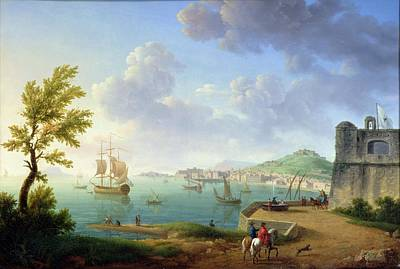 View Of Naples From The Castel Dellovo Art Print by Pierre Joseph Petit