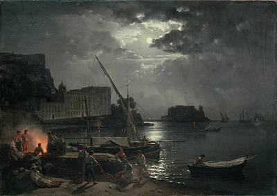 Boats In Reflecting Water Painting - View Of Naples In Moonlight by Silvestr Fedosievich Shchedrin