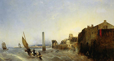 Obelisk Painting - View Of Napoleon Quay At Cherbourg by Jean Louis Petit