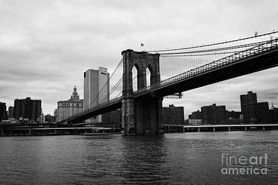 View Of New York From Beneath The Brooklyn Bridge New York Art Print by Joe Fox