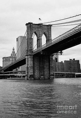 View Of New York From Beneath The Brooklyn Bridge Usa Art Print by Joe Fox