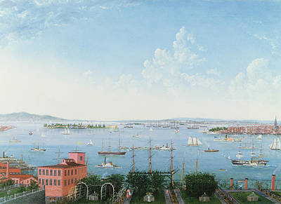 Sailboat Ocean Painting - View Of New York Harbor From Brooklyn Heights by American School