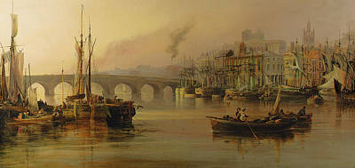 Harbor Bridge Wall Art - Painting - View Of Newcastle From The River Tyne by Thomas Miles Richardson