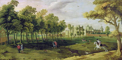 Stag Painting - View Of Nonsuch Palace In The Time by Flemish School