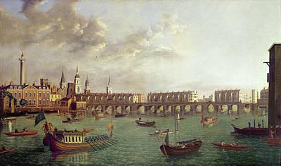 View Of Old London Bridge Oil On Panel Art Print by English School