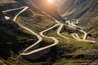 View Of Old Road To Gotthard Pass Art Print by Walter Zerla