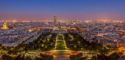 Photograph - View Of Paris City At Night From The Eiffel Tower by Pierre Leclerc Photography