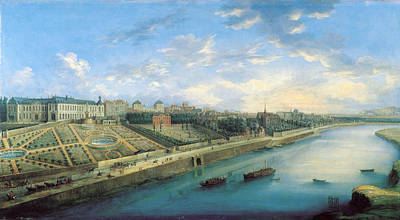 View Of Passy And Chaillot From Grenelle Oil On Canvas Art Print by Charles Laurent Grevenbroeck