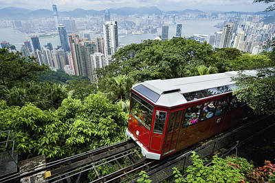 View Of Peak Tram Arriving At The Top Art Print by Axiom Photographic