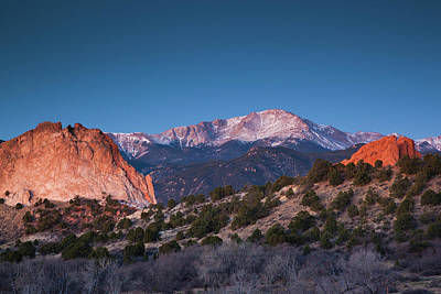 Rocky In Spring Photograph - View Of Pikes Peak At Dawn, Garden by Panoramic Images