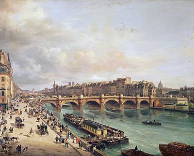 French Laundry Photograph - View Of Pont Neuf, 1832 Oil On Canvas by Guiseppe Canella