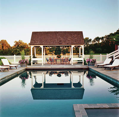 Poolside Photograph - View Of Pool Pavilion by Durston Saylor