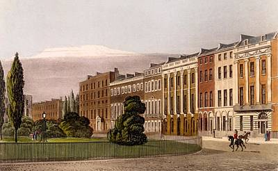 View Of Portman Square, North Side, 1816 Art Print by Rudolph Ackerman