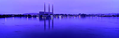 Morro Bay Photograph - View Of Power Plant At Dusk, Morro Bay by Panoramic Images