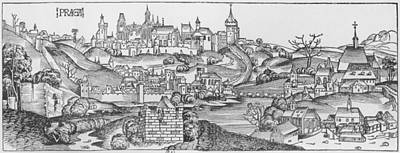 View Of Prague, Illustration From The Liber Chronicarum By Hartmann Schedel 1440-1514 Published Art Print by Michael Wolgemuth