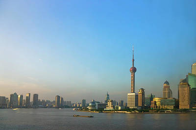 View Of Pudong Skyline Dominated Art Print by Keren Su