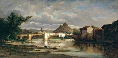 View Of Puy-en-velay From Espaly, 1872 Oil On Canvas Art Print by Auguste Allonge