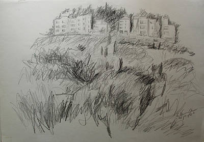 Drawing - View Of Rechavia Jerusalem by Esther Newman-Cohen