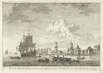 Water Mill Drawing - View Of Rotterdam From The Water, To The Right Is The New by Gerrit Groenewegen