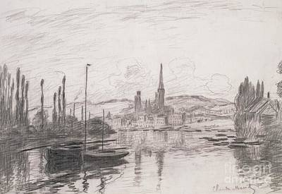 Harbour Drawing - View Of Rouen by Claude Monet