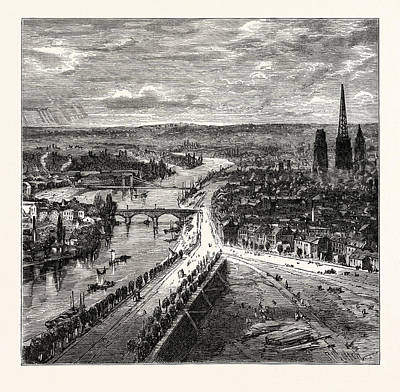 View Of Rouen From St. Catherines Hill Art Print by English School