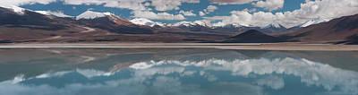 View Of Salt Lake With Mountain Range Art Print