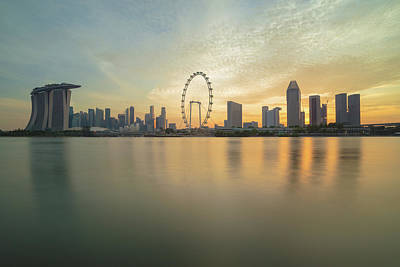 View Of Singapore Skyscraper Art Print by Natthawat
