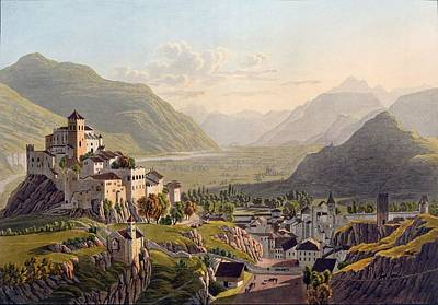 Alps Drawing - View Of Sion, Illustration From Voyage by Gabriel L. & Lory, Mathias G. Lory