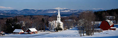New England Village Photograph - View Of Small Town In Winter, Peacham by Panoramic Images
