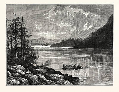 Vancouver Drawing - View Of Sooke Lake by English School
