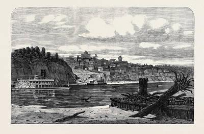 Missouri Drawing - View Of St. Joe Missouri From The Kansas Side by English School