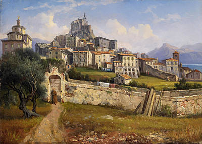 Gustaf Wilhelm Palm Painting - View Of Subiaco by Gustaf Wilhelm Palm