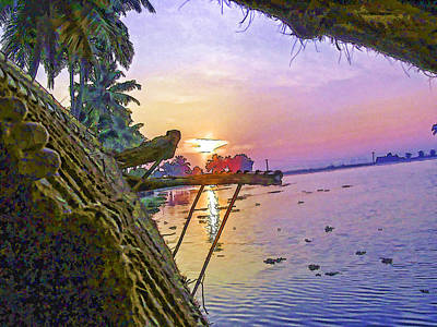 View Of Sunrise From A Houseboat Art Print