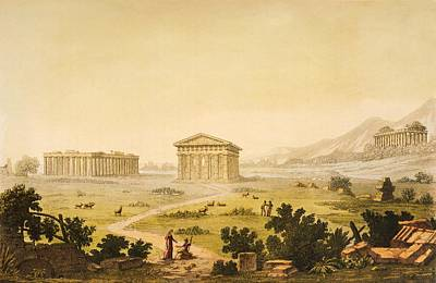 Columns Drawing - View Of Temples In Paestum At Syracuse by Giulio Ferrario