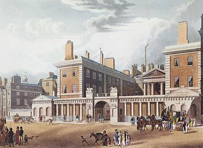 Whitehall Photograph - View Of The Admiralty, 1818 Colour Engraving by Thomas Hosmer Shepherd