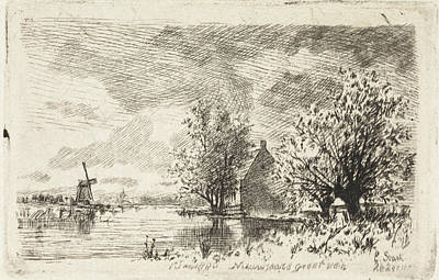 Stark Drawing - View Of The Amstel, Elias Stark by Elias Stark