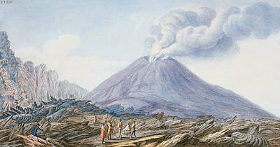 Volcano Drawing - View Of The Atrio Di Cavallo by Pietro Fabris