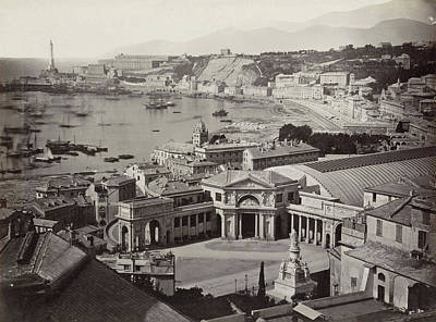 Genoa Drawing - View Of The Bay Of Genoa With A Railway Station by Artokoloro