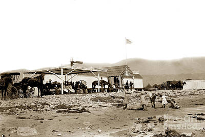 Photograph - View Of The Beachfront Santa Barbara Bath House Circa 1880 by California Views Mr Pat Hathaway Archives