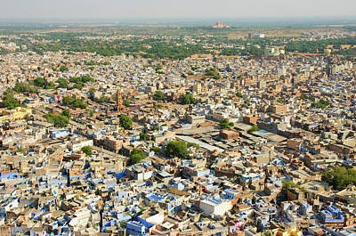View Of The Blue City Of Jodhpur Art Print by Inger Hogstrom