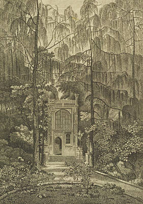 Clearing Drawing - View Of The Chapel In The Garden by William Pars